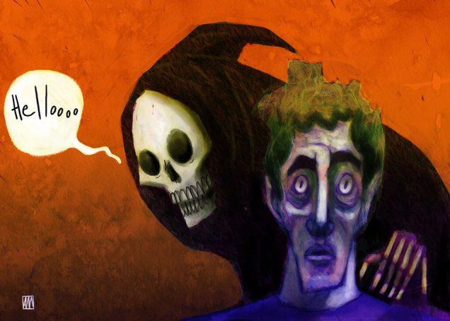 Ale Mercado illustration for Bad News poem