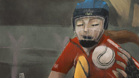 Ale Mercado illustration for Poem Sliotar by Niamh Moore