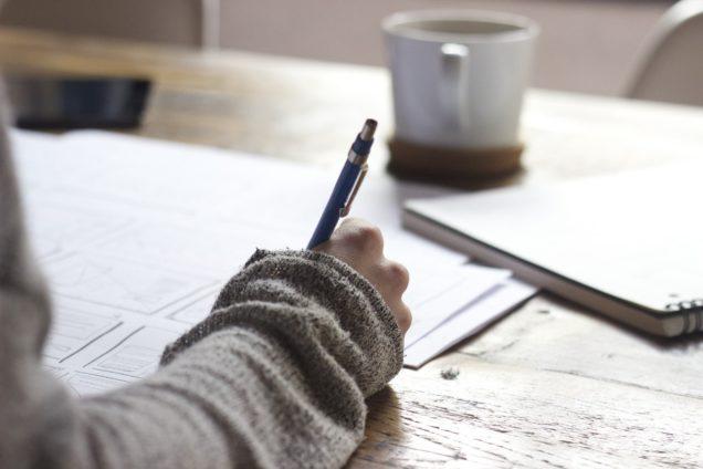 Writer working