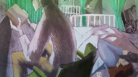 Alé Mercado illustration for Hospital poem by Liam Michael Cleere